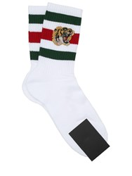 Gucci Tiger Patch Cotton Blend Socks White