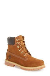 Timberland Women's '6 Inch Premium' Waterproof Boot Rust Nubuck Leather