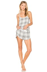 Bella Dahl Oxford Plaid Cami And Short Set Gray