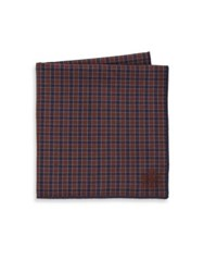 Hook Albert Checked Cotton Pocket Square Brown