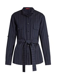 Sies Marjan Pinstriped Double Layer Wool Blend Shirt Navy