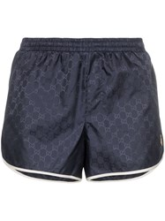 Gucci Monogram Bee Embroidery Swim Shorts Blue