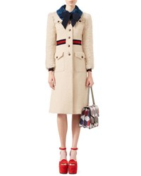 Gucci Tweed Coat With Fur Trim Ivory Rose White