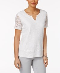 Alfred Dunner Rose Hill Lace Overlay Top White