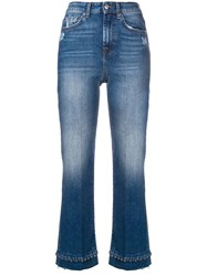 7 For All Mankind Beaded Hem Cropped Jeans Blue