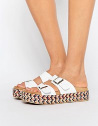 Sixty Seven Sixtyseven White Multi Strap Espadrille Slide Flat Sandals White