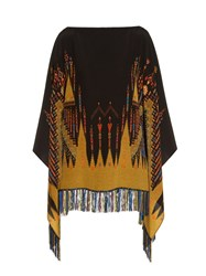 Etro Fringed Geometric Print Silk Poncho Black Multi