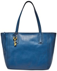 Fossil Emma Leather Tote Marine