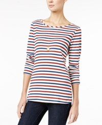 Maison Jules Striped Long Sleeve T Shirt Only At Macy's Egret Combo