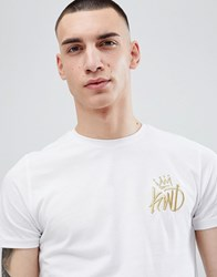 Kings Will Dream Muscle Fit Travis T Shirt In White With Gold Logo
