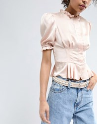 Pieces Pearl Detail Belt Rose Dust Pink