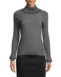 Piazza Sempione Turtleneck Long Sleeve Striped Ribbed Sweater Black White