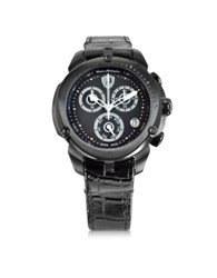 Lamborghini Shield Lady Black Stainless Steel And Black Croco Print Leather Chronograph Watch