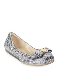 Cole Haan Tali Snake Embossed Ballet Flats Silver