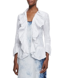 Ralph Lauren Black Label Jacqueline Paisley Embroidered Ruffle Shirt White