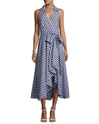 Milly Brooklyn Sleeveless Gingham Shirting Wrap Dress Navy