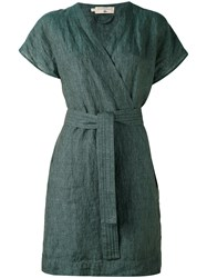 Cotelac Drawstring Wrap Dress Women Linen Flax 1 Green