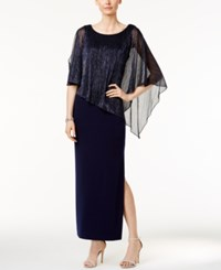 Connected Metallic Illusion Overlay Gown Navy
