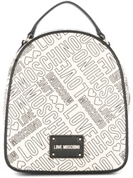 Love Moschino Logo Print Backpack Nude And Neutrals