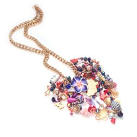 Miss High And Low Autumn Party Necklace Gold Pink Purple