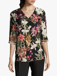 Betty And Co. Floral Print Blouse Black Purple