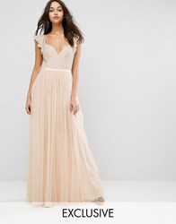 Needle And Thread Swan Tulle Maxi Dress With Frill Sleeve Petal Pink