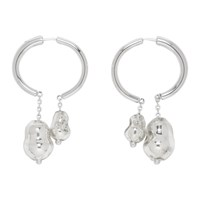 Christophe Lemaire Silver Blown Glass Creole Earrings