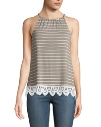 Casual Couture Halter Neck Striped Lace Hem Tee Gray White