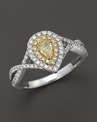 Bloomingdale's Natural Yellow Diamond Pear Shaped Ring In 18K White And Yellow Gold .70 Ct. T.W.
