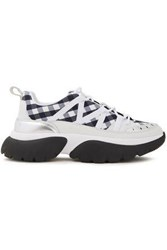 Maje Woman Metallic Leather Trimmed Gingham Woven Sneakers Black