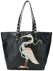 Red Valentino Embroidered Oversized Tote Black