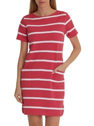Betty And Co. Textured Stripe Dress Pink White