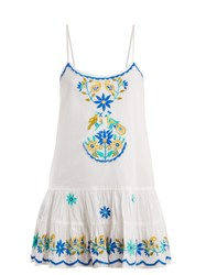 Juliet Dunn Floral Embroidered Cotton Dress White Multi