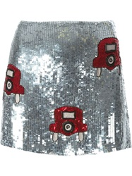 Au Jour Le Jour Car Motif Sequin Mini Skirt Metallic