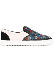 Coach Flower Embellished Slip On Sneakers White
