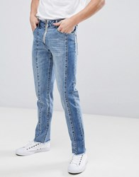 Asos Slim Jeans With Cut And Sew Detail Light Wash Blue