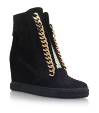 Casadei Chain Trimmed Wedge Sneakers Female Black