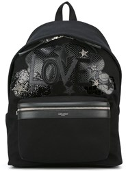 Saint Laurent Love Patch City Backpack Black
