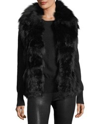 Adrienne Landau Fur Open Front Vest Dark Red