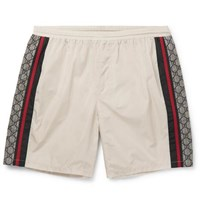 Gucci Wide Leg Long Length Striped Logo Print Swim Shorts Ivory