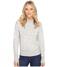Converse Quilted Mock Neck Crew Fleece Snow Heather Women's Fleece Gray
