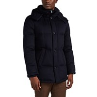 Barneys New York Fur Trimmed Down Quilted Cashmere Parka Navy