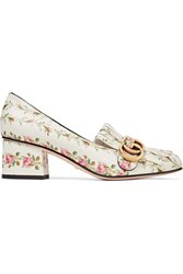 Gucci Marmont Fringed Floral Print Loafers White