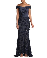 David Meister Off The Shoulder Satin And Beaded Gown Navy