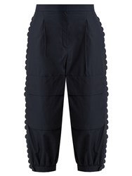 Fendi Scallop Edged Cropped Cotton Cargo Trousers Navy