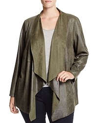 Bagatelle Plus Draped Faux Leather Jacket Olive