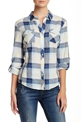 Sandra Ingrish Navy Yellow Plaid Shirt Petite Blue