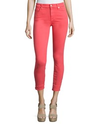 7 For All Mankind The Mid Rise Skinny Ankle Jeans Red