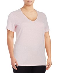 Lord And Taylor Plus Solid V Neck T Shirt Pink
