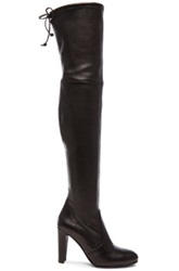Stuart Weitzman Stretch Leather Highland Boots In Black